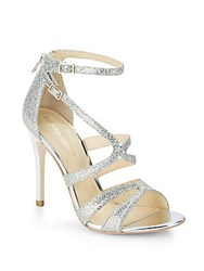 Ivanka Trump Hotis Glitter And Metallic Sandals Silver Gold