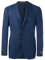 Corneliani Checked Blazer Jacket Blue