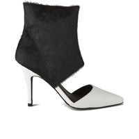 Sol Sana Women's Tylar Pony Hair Cuff Leather Cut Out Boots Black White