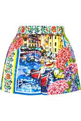 Dolce And Gabbana Portofino Printed Brocade Shorts Blue