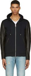 Diesel Black Leather And Jersey L Siris Hoodie