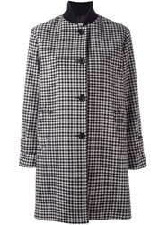Alberto Biani Houndstooth Single Breasted Coat Black