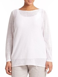 Eileen Fisher Plus Size Linen Boatneck Top White Arora