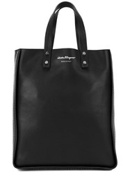 Salvatore Ferragamo Rectangular Shopping Tote Bag Black