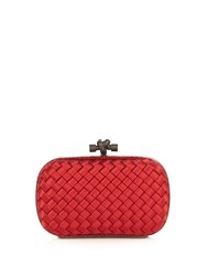 Bottega Veneta Knot Satin And Water Snake Clutch Red