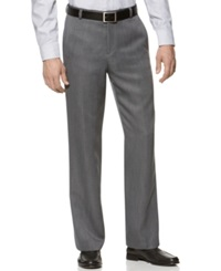 Kenneth Cole Reaction Straight Fit Texture Stria Flat Front Dress Pants Grey