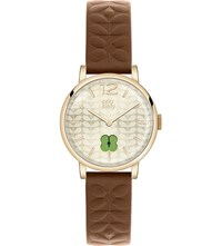 Orla Kiely Ok2008 Frankie Leather And Stainless Steel Watch Champagne