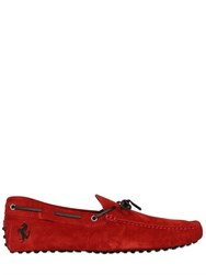 Tod's Ferrari Gommino 122 Tie Suede Driving Shoes