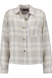 Isabel Marant Kessa Plaid Wool Blend Shirt Ecru