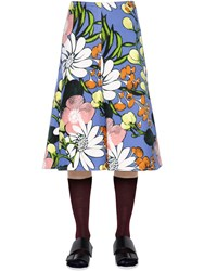 Marni Floral Print Cotton And Linen Drill Skirt