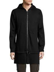 Helmut Lang Jersey Zip Away Long Hoodie Black