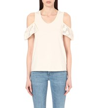 See By Chloe Dropped Shoulder Cotton Tank Top Pearled Ivoiry