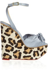 Charlotte Olympia Miranda Satin And Calf Hair Wedge Sandals Animal Print