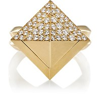 Mahnaz Collection Vintage Women's Spinning Pyramid Ring Gold