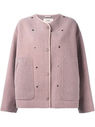 Ports 1961 Eyelet Detail Jacket Pink And Purple