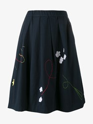 Mira Mikati Fly Embroidered Cotton Skirt Multi Coloured Navy Denim