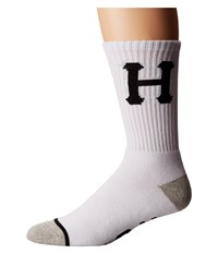 Huf Classic H Crew Sock White Men's Crew Cut Socks Shoes