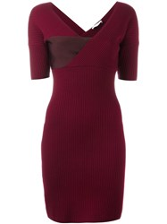 Thierry Mugler Ribbed Fitted Dress Red