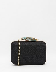 Liquorish Lurex Box Clutch Bag With Jewelled Bug Clasp Black