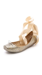 Melissa Lace Up Ballet Flats Gold Silver Glitter
