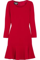Boutique Moschino Fluted Crepe Dress Crimson