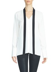 1.State Long Sleeve Tie Neck Colorblock Blouse Chalk