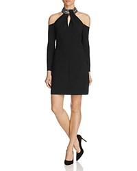 Karen Millen Embellished Neck Cold Shoulder Dress Black