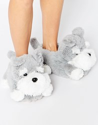 New Look Novelty Dog Slippers Grey