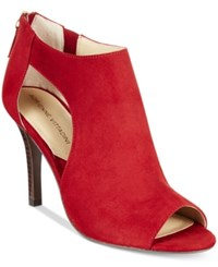 Adrienne Vittadini Genia Peep Toe Sandals Women's Shoes Ruby Kidsuede