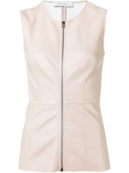 Cedric Charlier Zip Front Tank Top Nude And Neutrals