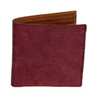 40 Colori Burgundy Solid Washed Mogador And Leather Wallet Red