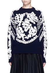 Sacai Swirl Embroidered Side Zip Wool Sweater Blue