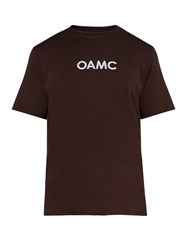 Oamc Logo Print Cotton T Shirt Burgundy