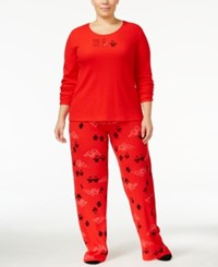 Hue Plus Size Thermal Pajama Set With Socks Red Penguins