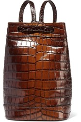 Tomas Maier Croc Effect Glossed Leather Shoulder Backpack Brown