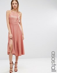 Asos Tall Metallic Flippy Strap Back Skater Midi Dress Mink Beige