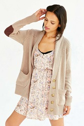 Olive And Oak Elbow Patch Shawl Cardigan Taupe