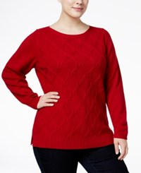Karen Scott Plus Size Cable Knit Sweater Only At Macy's New Red Amore