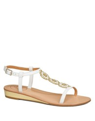 Jack Rogers Eve T Strap Leather Sandals White
