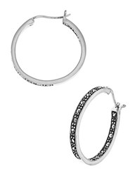 Lord And Taylor Rhinestone Hoop Earrings Silver