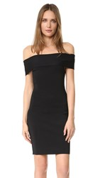 Alexander Wang Rib Knit Off Shoulder Dress Black