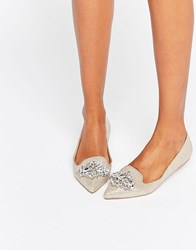 Head Over Heels By Dune Lou Lou Embellished Pointed Flat Shoes Gold