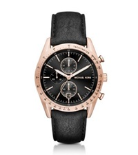 Michael Kors Accelerator Rose Gold Tone And Leather Watch