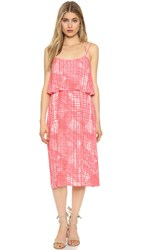 Cupcakes And Cashmere Paloma Ruffle Front Midi Dress Off Beat Plaid Pacific Coral