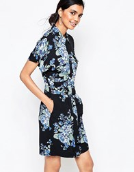 Ganni Blue Flower Print Shirt Dress Blue Flower