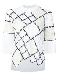 Oscar De La Renta Lace And Crochet Patchwork Sweater White