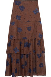 See By Chloe Printed Silk Maxi Skirt Brown