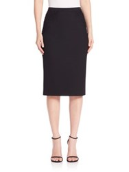 Elie Tahari Harla Floral Lace Trimmed Pencil Skirt Black