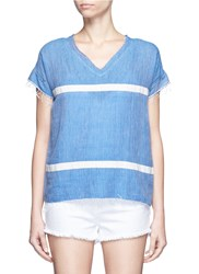 Lemlem 'Nadia' Stripe V Neck T Shirt Blue