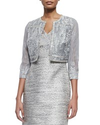 Kay Unger New York Sheer Cropped Jacket With Beaded Lace Blue Grey